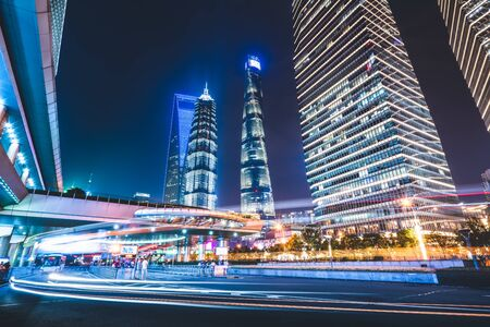 Shanghai city architecture night view skyscraper