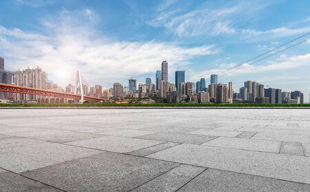 충칭 도시 건축 풍경 스카이 라인