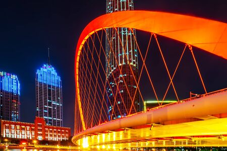 Tianjin city night and architectural landscape Stock Photo