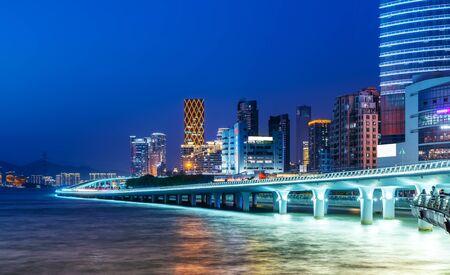 Xiamen city building night view Stock Photo
