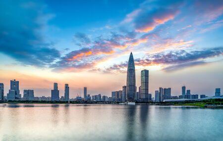 Shenzhen bay modern buildings skyline panorama