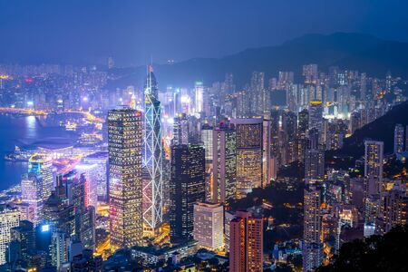 Aerial view of Hong Kong architecture landscape at night Editorial