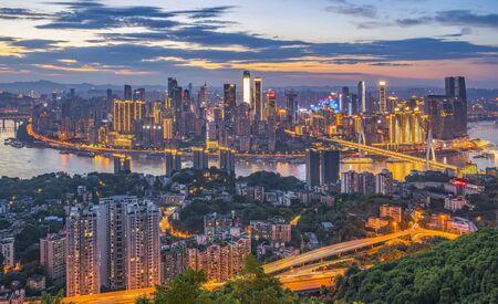 Aerial Chongqing Twilight