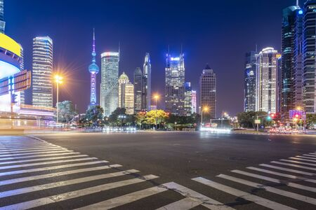 Highway zebra crossing and building landscape night view