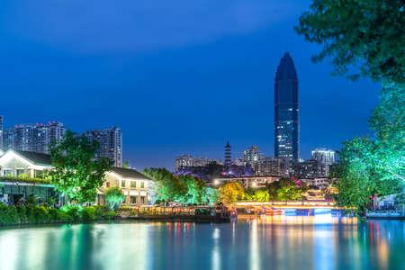Architectural landscape night view of Nantang Street, Wenzhou, Zhejiang