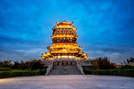 Ancient buildings in the gardens in the hometown of King Xiang