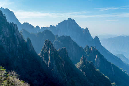 Natural scenery of clouds and fog in Huangshan Mountains