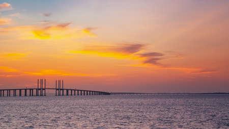 Sunset and cross sea bridge
