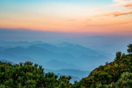 Sunset natural landscape of Huangshan Mountain