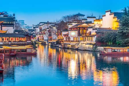High definition night view of Qinhuai River in Nanjing