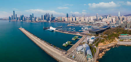 Aerial panorama of architectural landscape skyline in Fushan Bay, Qingdao