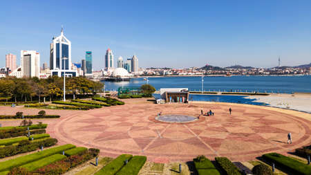 Aerial panorama of architectural landscape skyline in Qingdao Bay