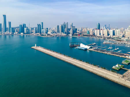 Panoramic aerial photography of Qingdao Qianhai