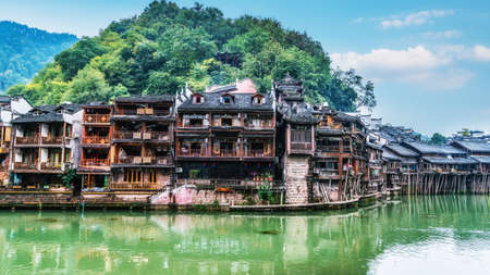 Aerial photography of Fenghuang ancient city scenic spot in Hunan Province