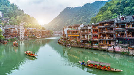 Aerial photography of ancient architecture landscape in Fenghuang ancient city 免版税图像