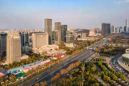 Aerial photography of modern architectural landscape in Jinan 免版税图像
