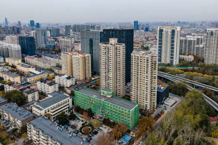 Aerial photography of modern architecture skyline in Jinan 免版税图像