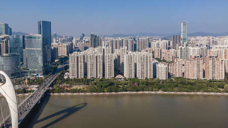 Aerial photography of architectural landscape on both sides of Pearl River in Guangzhou