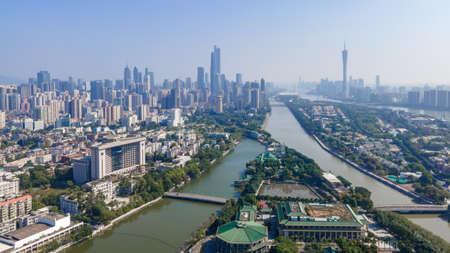 Aerial photography of Guangzhou Pearl River New Town CBD