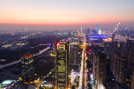 Aerial photography of Guangzhou night scene 免版税图像