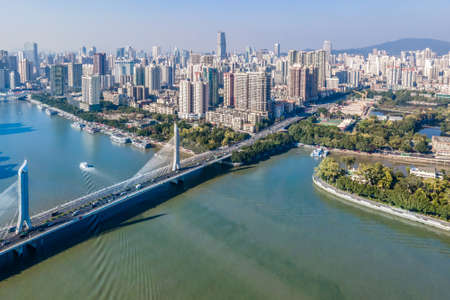 Aerial photography of the skyline of architectural landscape on both sides of the Pearl River in Guangzhou