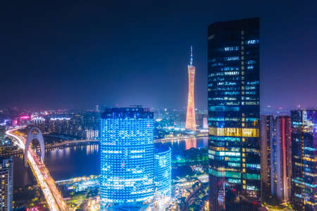 Aerial photography of Guangzhou architectural landscape at night