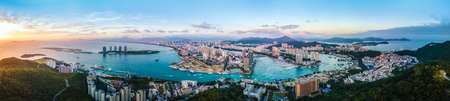 Aerial photography of Sanya Bay architectural landscape