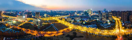 Aerial photo of new night scene of Hangzhou financial center 免版税图像