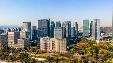 Aerial photography of high rise buildings in Qianjiang New Town, Hangzhou