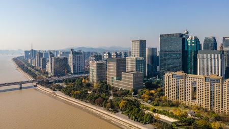 Aerial view of modern architecture in Hangzhou Qianjiang New City