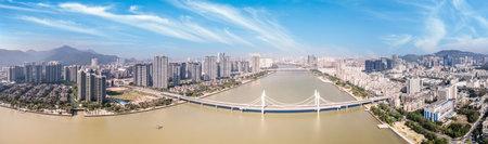 Aerial photography of architectural landscape along Zhuhai coastline