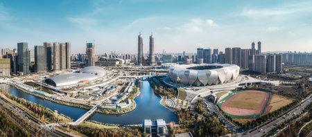 Aerial panorama of Hangzhou urban construction 免版税图像