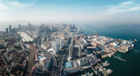 Aerial photography of architectural landscape in old city of Qingdao