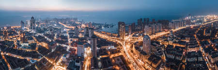 Aerial photography of night view of viaduct highway in Qingdao City 免版税图像