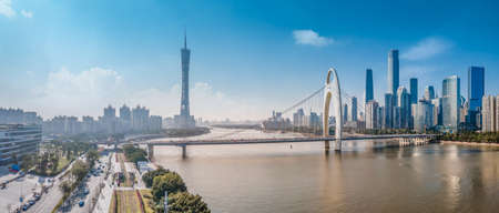 Aerial photography of Guangzhou urban architectural skyline