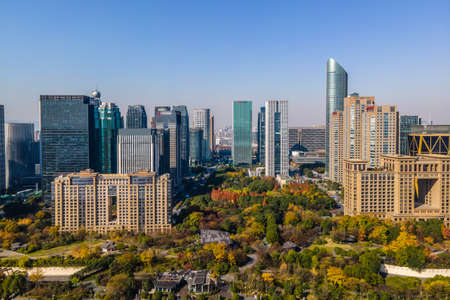 Aerial photography of Hangzhou urban architectural landscape 免版税图像