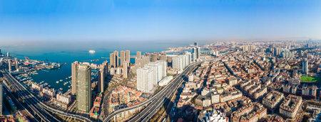 Aerial photography of Qingdao coastline architectural landscape skyline