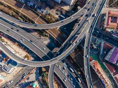 Aerial view of Qingdao viaduct highway 免版税图像
