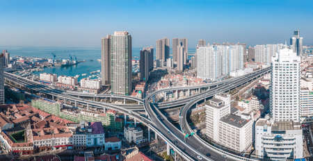 Aerial photography of Qingdao city overpass highway