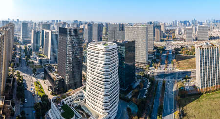 Aerial photography of Hangzhou urban architectural landscape 新闻类图片