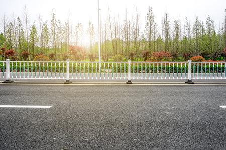 Asphalt road and green belt
