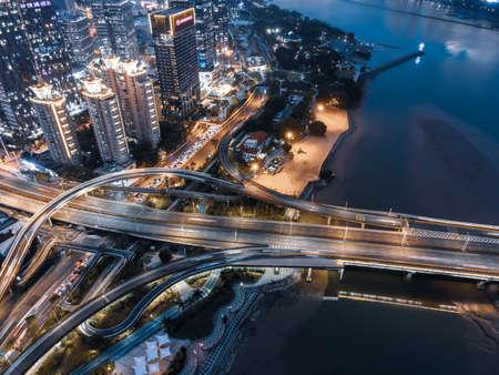 Aerial photography of Fuzhou urban road overpass
