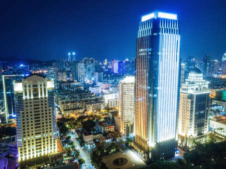 Aerial photography of Xiamen city architecture night view