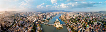 Aerial photography of modern architectural landscape along the Minjiang River in Fuzhou