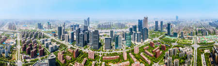 Aerial photography of the skyline of modern architecture in Hexi New City, Nanjing
