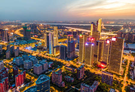 Aerial photography of Nanjing urban architectural landscape at night