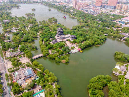 Aerial panoramic view of Jinan City in Shandong Province