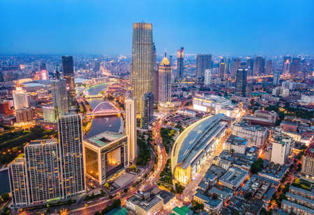 Aerial photography of night view of urban architecture in Tianjin Stock Photo