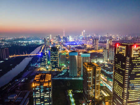 Aerial photography of the night view of Ningbo City, Zhejiang Province
