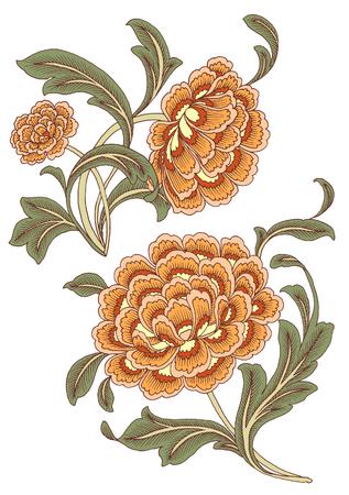 Paisley Style Flower Set